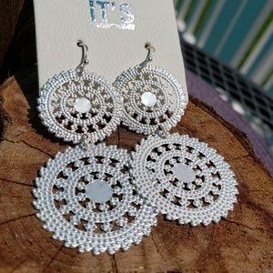 Jewelry - Silver Tone Double Disc Drop Earrings